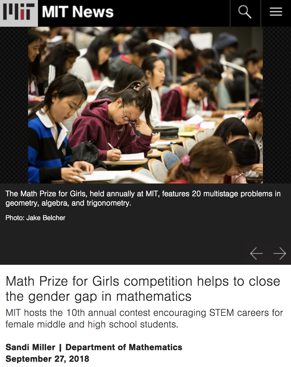 Math Prize for Girls competition helps to close the gender gap in mathematics