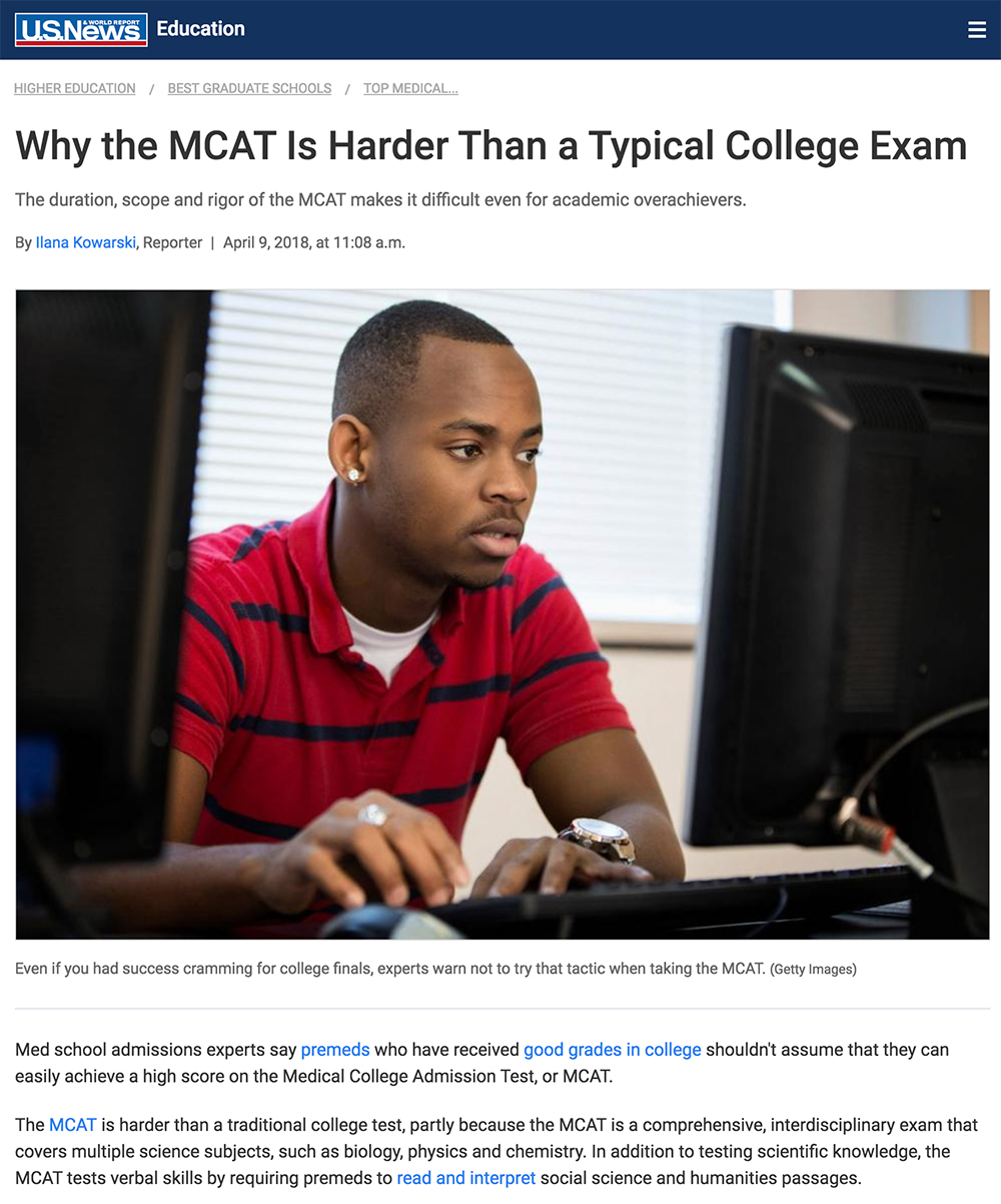 MCAT article in US News and World Report