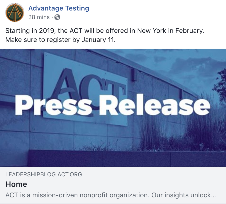 Starting in 2019, the ACT will be offered in New York in February