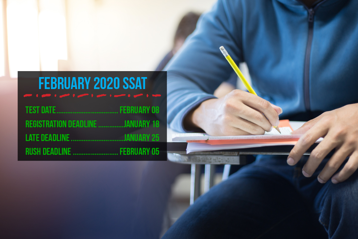 Attention SSAT students: the registration deadline for the February 8 SSAT is January 18