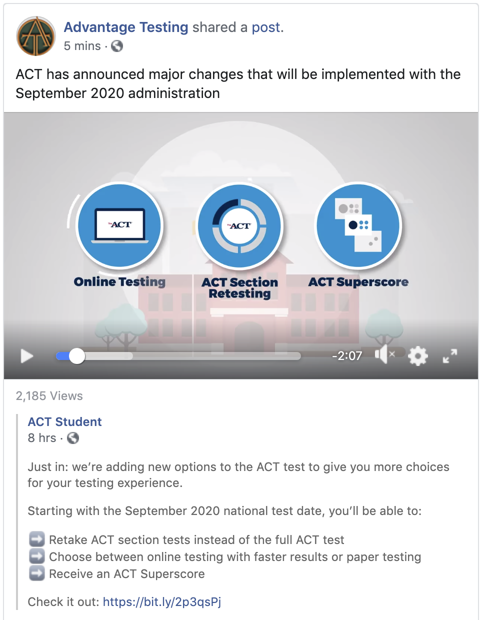 ACT has announced major changes that will be implemented with the September 2020 administration