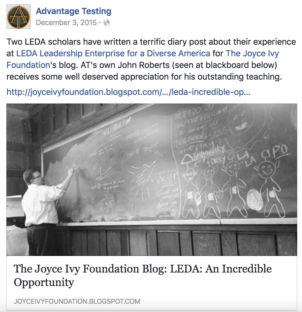 Two LEDA Scholars Have Written a Terrific Post about Their Experience for The Joyce Ivy Foundation's Blog!