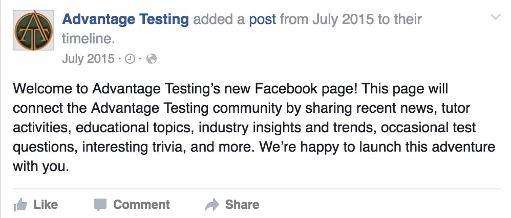 Advantage Testing is Now on Facebook!